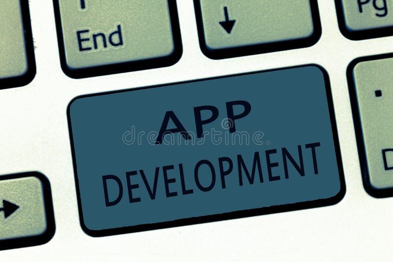 Word het schrijven tekstapp Ontwikkeling Bedrijfsconcept voor de Ontwikkelingsdiensten voor ontzagwekkende mobiele en Webervaring stock illustratie