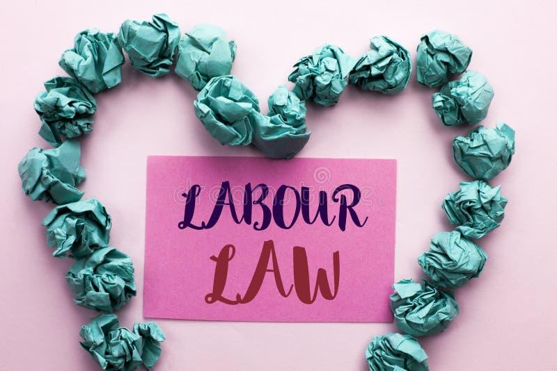 Word het schrijven tekstArbeidsrecht Het bedrijfsdieconcept voor Werkgelegenheid beslist de Unie van de de Verplichtingenwetgevin stock fotografie