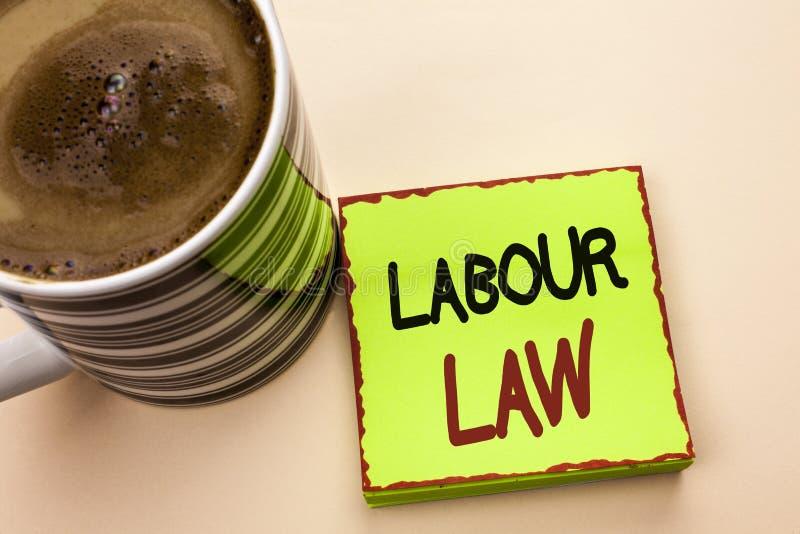 Word het schrijven tekstArbeidsrecht Het bedrijfsdieconcept voor Werkgelegenheid beslist de Unie van de de Verplichtingenwetgevin royalty-vrije stock foto's
