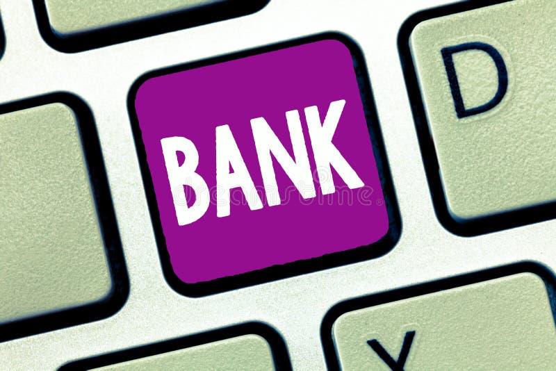 Word het schrijven tekstbank Bedrijfsconcept voor een organisatie waar de mensen en de ondernemingen borrow geld kunnen investere stock afbeeldingen