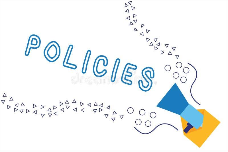 Word het schrijven tekstbeleid Bedrijfsdieconcept voor cursus of principe van actie door organisatie wordt goedgekeurd of wordt v stock illustratie