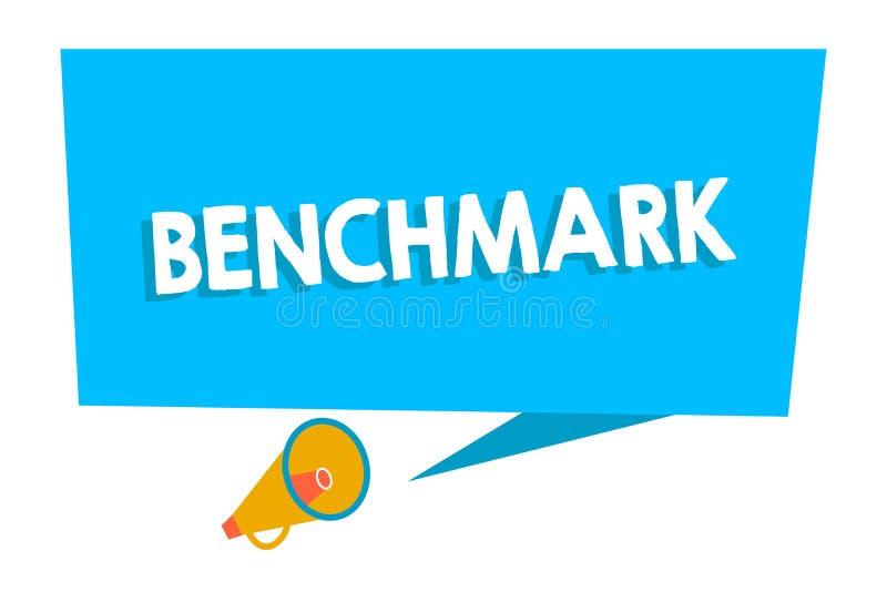 Word het schrijven tekstbenchmark Bedrijfsconcept voor norm of referentiepunt waartegen de dingen Rechthoekige Spatie vergeleken vector illustratie