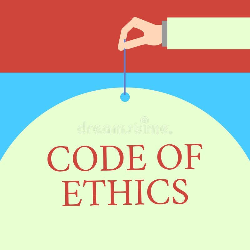 Word het schrijven tekstcode van Ethiek Het bedrijfsconcept voor basisgids voor professioneel gedrag en legt plichten Mannelijke  stock illustratie