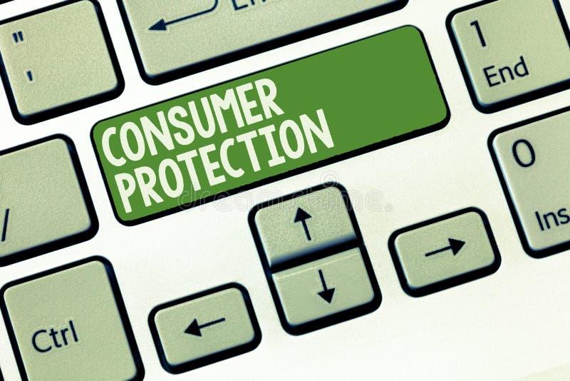 Word het schrijven tekstConsumentenbescherming Bedrijfsconcept voor Eerlijke Handelswetten om de Rechtenbescherming te verzekeren royalty-vrije stock foto's
