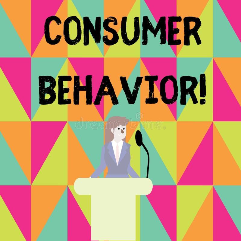 Word het schrijven tekstconsumentengedrag Bedrijfsconcept voor studie van hoe de individuele klanten met het merk interactie aang stock illustratie