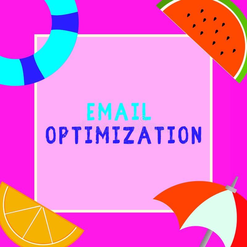 Word het schrijven tekste-mail Optimalisering Bedrijfsconcept voor Maximize de doeltreffendheid van de marketing campagne vector illustratie