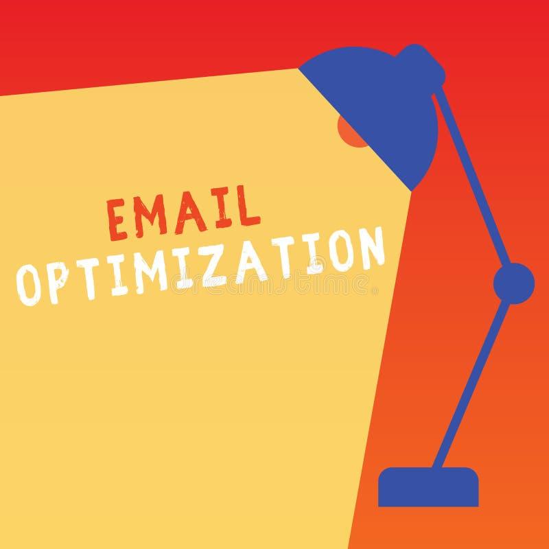 Word het schrijven tekste-mail Optimalisering Bedrijfsconcept voor Maximize de doeltreffendheid van de marketing campagne stock illustratie