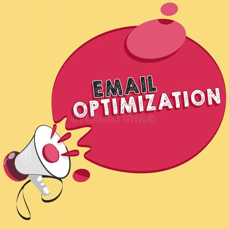 Word het schrijven tekste-mail Optimalisering Bedrijfsconcept voor Maximize de doeltreffendheid van de marketing campagne royalty-vrije illustratie