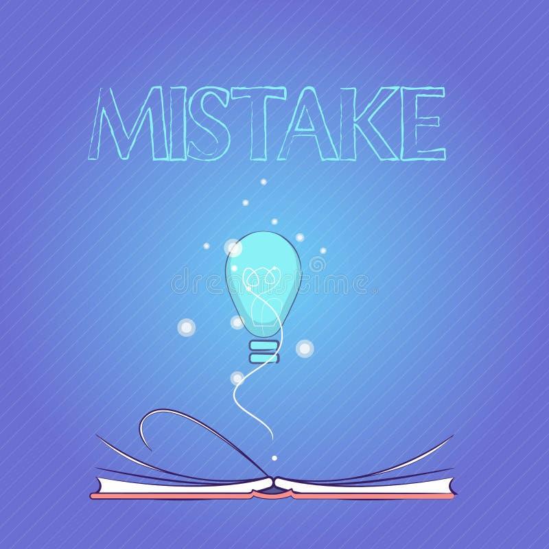 Word het schrijven tekstfout Het bedrijfsconcept voor iets niet correct Gebrek aan nauwkeurigheids Verkeerde Onjuist ontbreekt stock illustratie