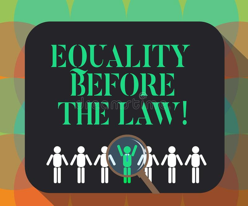 Word het schrijven tekstgelijkheid vóór de Wet Bedrijfsconcept voor de beschermings gelijke rechten van het Rechtvaardigheidssald vector illustratie