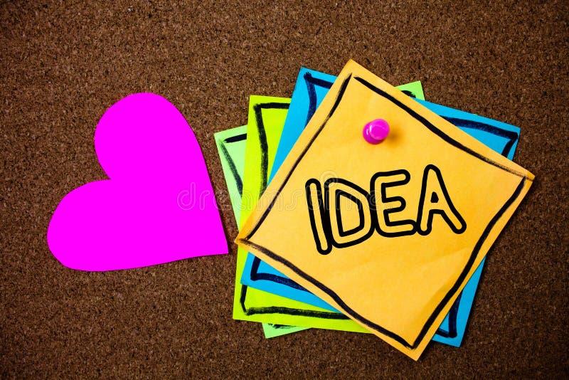 Word het schrijven tekstidee Bedrijfsconcept voor de Creatieve Innovatieve het Denken Verbeeldingsontwerp pap van de Ideeënberich stock afbeeldingen