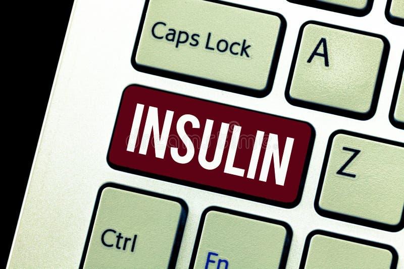 Word het schrijven tekstinsuline Het bedrijfsconcept voor Eiwit alvleesklier- hormoon regelt de glucose in het bloed stock foto's