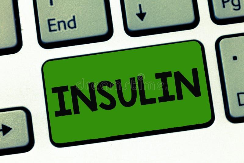 Word het schrijven tekstinsuline Het bedrijfsconcept voor Eiwit alvleesklier- hormoon regelt de glucose in het bloed stock fotografie