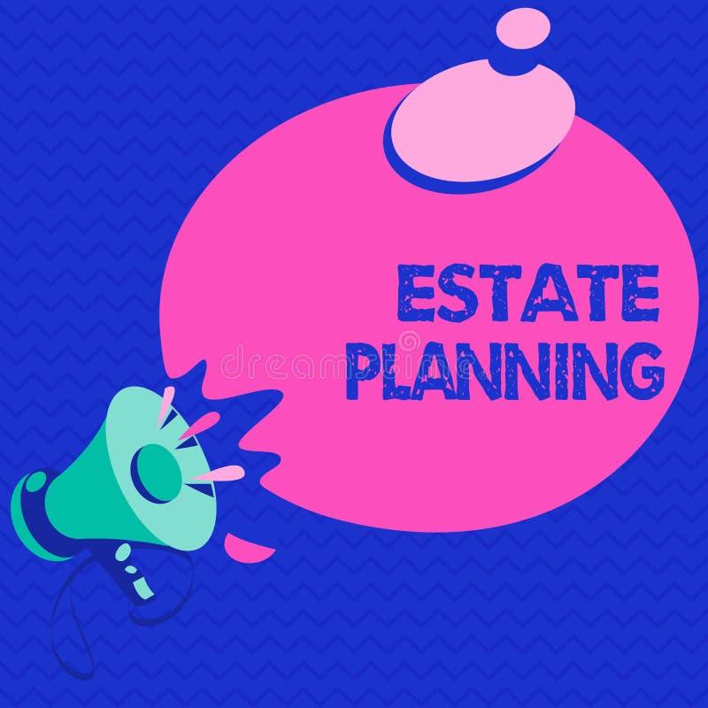 Word het schrijven tekstlandgoed Planning Bedrijfsconcept voor het beheer en de verwijdering van het landgoed van die persoon stock illustratie