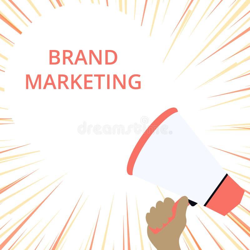 Word het schrijven tekstmerk Marketing Bedrijfsconcept voor het Creëren van voorlichting over producten rond de Holding van de we stock illustratie