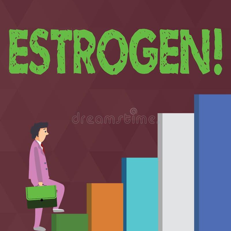 Word het schrijven tekstoestrogeen Het bedrijfsconcept voor Groep hormonen bevordert de ontwikkeling van kenmerken stock illustratie