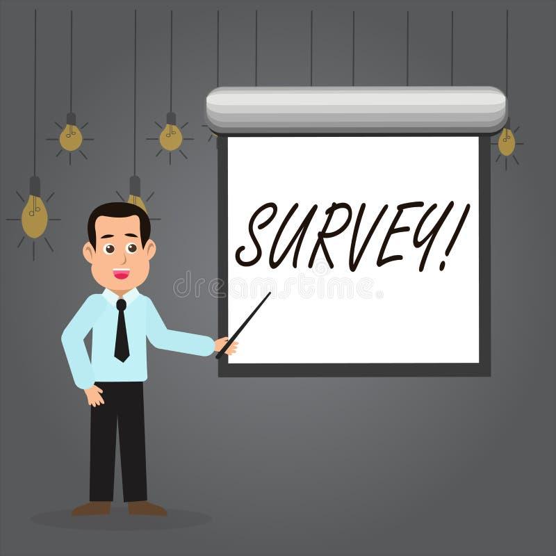 Word het schrijven tekstonderzoek Bedrijfsconcept voor het Vragen van groep het tonen om advies te verzamelen over een bepaald on royalty-vrije illustratie