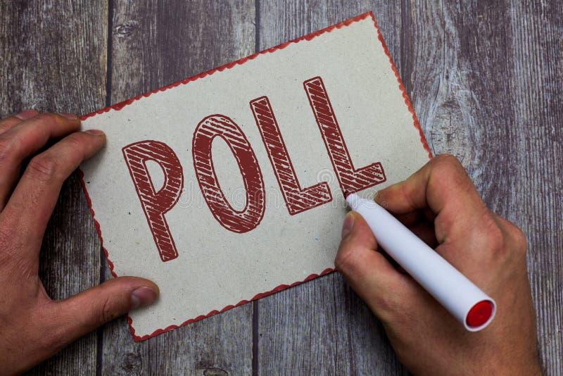 Word het schrijven tekstopiniepeiling Het bedrijfsconcept voor Verslag van het aantal stemmen goot in een verkiezingsproces om te stock afbeelding