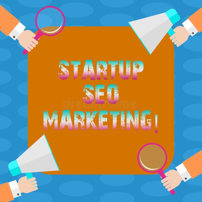Word het schrijven tekstopstarten Seo Marketing Het bedrijfsconcept voor Attract kwalificeerde lood terwijl uw werk die HU verbet vector illustratie