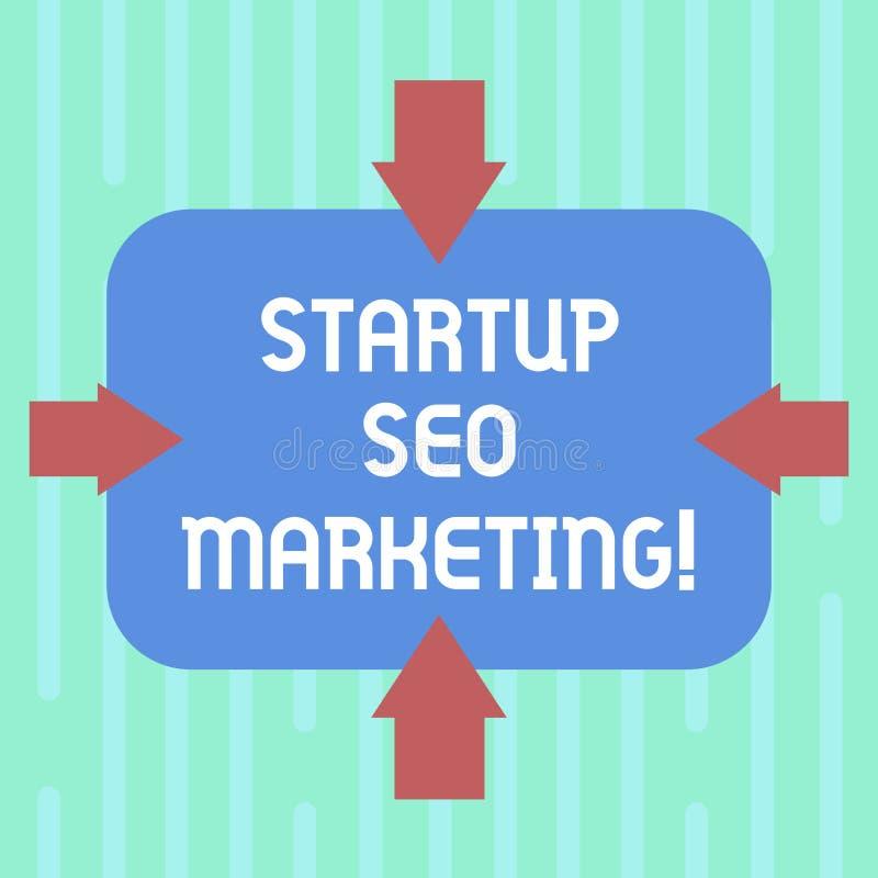 Word het schrijven tekstopstarten Seo Marketing Het bedrijfsconcept voor Attract kwalificeerde lood terwijl uw werk die Pijlen ve stock illustratie