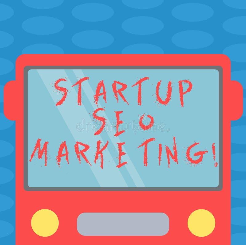 Word het schrijven tekstopstarten Seo Marketing Het bedrijfsconcept voor Attract kwalificeerde lood terwijl uw het werk Getrokken royalty-vrije illustratie