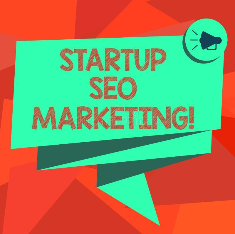 Word het schrijven tekstopstarten Seo Marketing Het bedrijfsconcept voor Attract kwalificeerde lood terwijl uw het werk het verbe stock illustratie