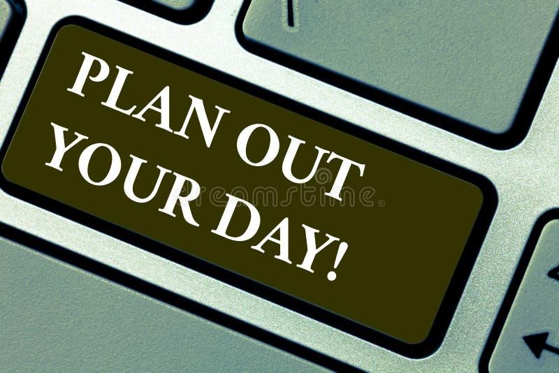 Word het schrijven tekstplan uit Uw Dag Het bedrijfsconcept voor maakt een activiteitenprogramma elke dag te doen wordt georganis royalty-vrije stock foto's