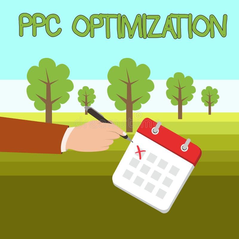 Word het schrijven tekstppc Optimalisering Bedrijfsconcept voor Verhoging van zoekmachineplatform voor loon per klikmannetje vector illustratie