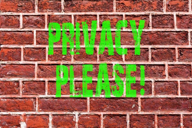 Word het schrijven tekstprivacy tevreden Het bedrijfsconcept voor zijn Stille Ontspannen Rust stoort Bakstenen muur geen kunst zo stock afbeeldingen
