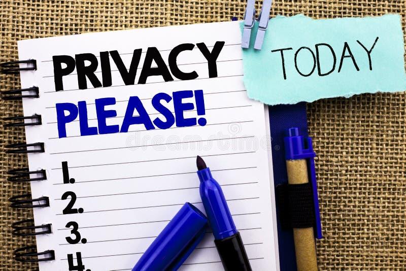 Word het schrijven tekstprivacy tevreden Motievenvraag Het bedrijfsconcept voor zijn Stille Ontspannen Rust stoort niet geschreve stock fotografie