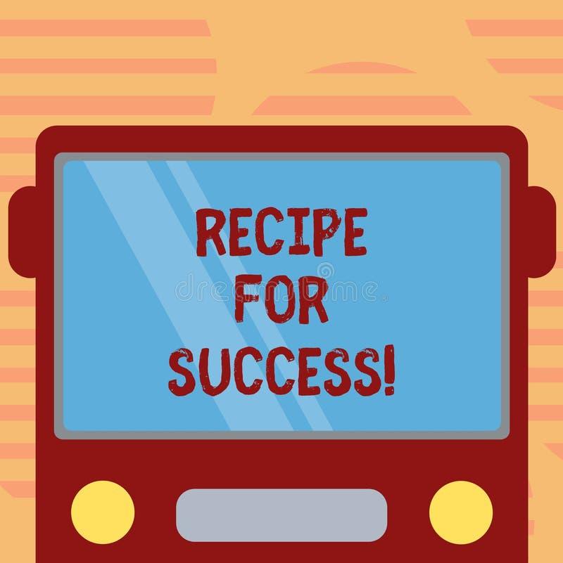 Word het schrijven tekstrecept voor Succes Bedrijfsconcept voor trucs en gidsen om bepaalde doelstellingen Getrokken vlak Voor te royalty-vrije illustratie