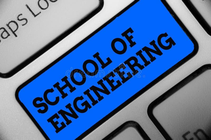 Word het schrijven tekstschool van Techniek Bedrijfsconcept voor universiteit aan studie mechanisch communicatie onderwerpencompu royalty-vrije illustratie