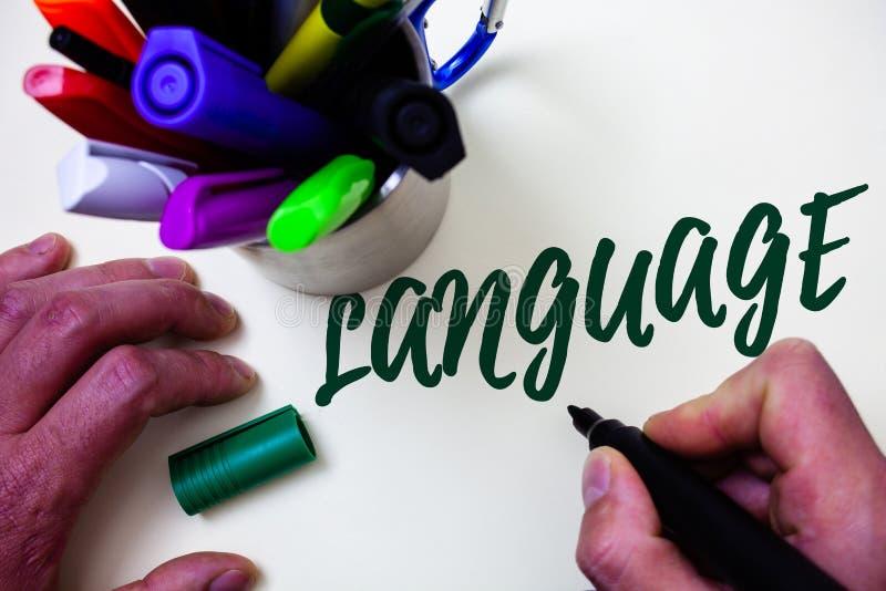 Word het schrijven teksttaal Bedrijfsconcept voor Methode van menselijke mededeling Gesproken Geschreven van de de Uitdrukkingsku royalty-vrije stock afbeelding