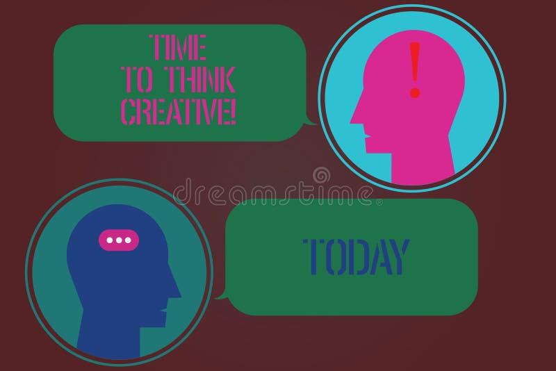 Word het schrijven teksttijd Creatief te denken Bedrijfsconcept voor Creativiteit originele ideeën die Inspiratieboodschapper Roo royalty-vrije illustratie