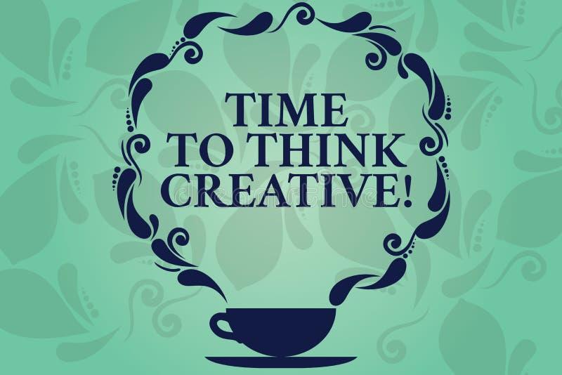 Word het schrijven teksttijd Creatief te denken Bedrijfsconcept voor Creativiteit originele ideeën die Inspiratiekop en Schotel d royalty-vrije illustratie