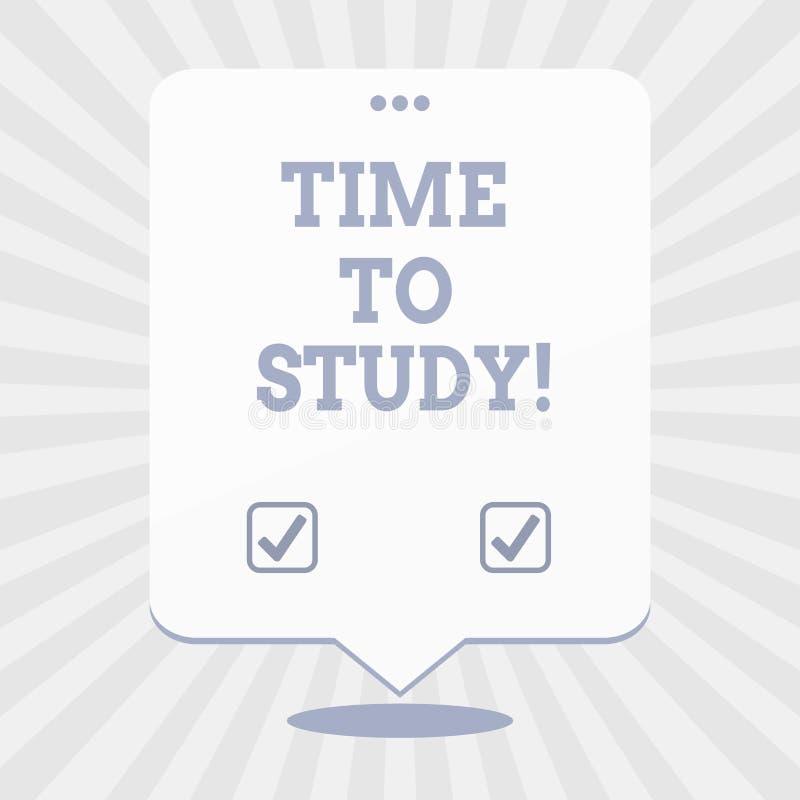 Word het schrijven teksttijd te bestuderen Het bedrijfsconcept voor Examens vergt vooruit concentraat in studies leert de les vector illustratie