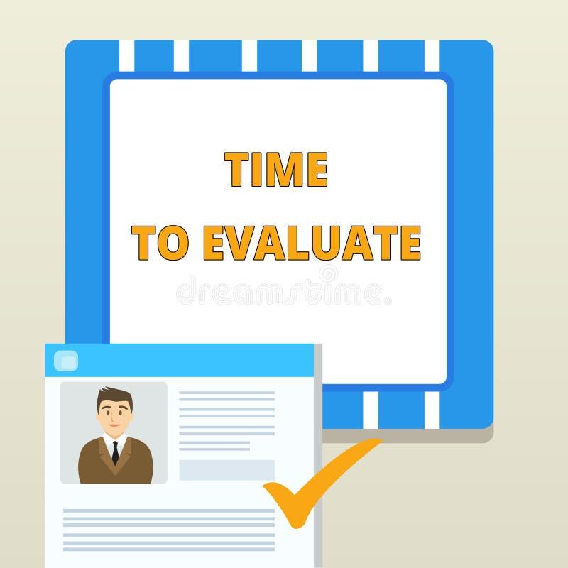 Word het schrijven teksttijd te evalueren Bedrijfsconcept voor rechter iets met betrekking tot zijn waarde of betekenis royalty-vrije illustratie