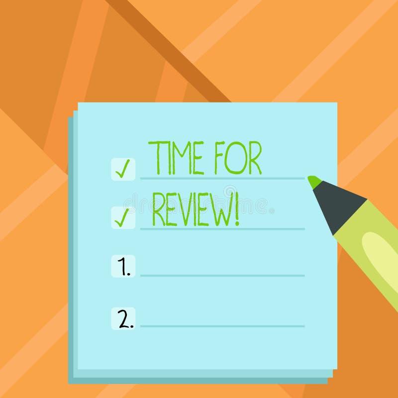 Word het schrijven teksttijd voor Overzicht Bedrijfsconcept voor het Ogenblik Perforanalysisce Rate Assess van de Evaluatieterugk vector illustratie