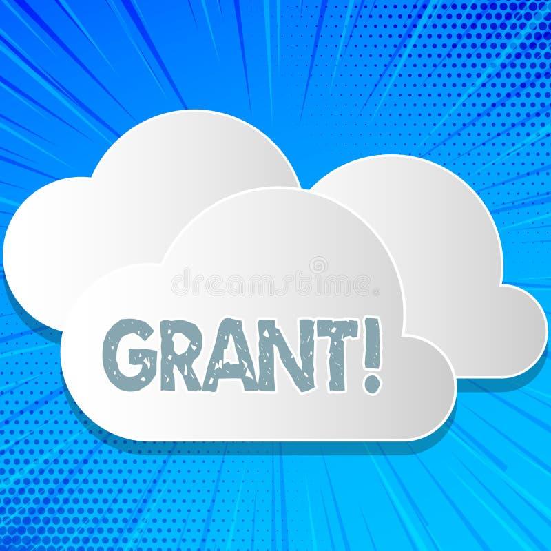 Word het schrijven teksttoelage Bedrijfsdieconcept voor Geld door een organisatie of een overheid voor een doelbeurs wordt gegeve stock illustratie