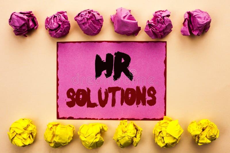 Word het schrijven tekstu Oplossingen Bedrijfsconcept voor Rekruteringsoplossing het Raadplegen Beheer die Onboarding oplossen di royalty-vrije stock afbeeldingen