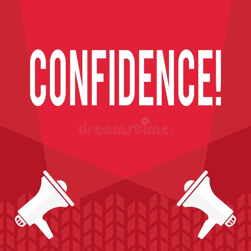 Word het schrijven tekstvertrouwen Het bedrijfsconcept voor nooit ooit het betwijfelen van uw waarde, inspireert en zet zich om stock illustratie