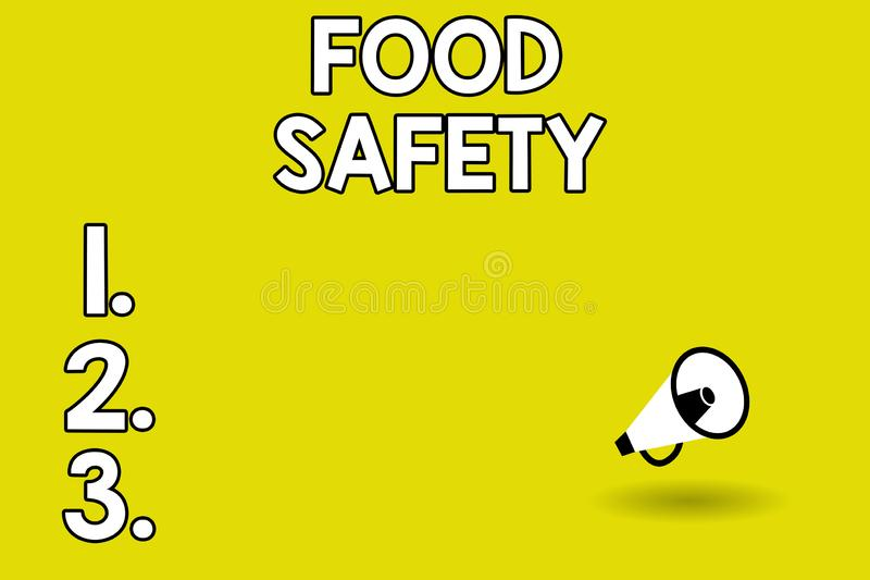Word het schrijven tekstvoedselveiligheid Bedrijfsconcept voor Voorwaarden en praktijken die de kwaliteit van voedsel bewaren vector illustratie