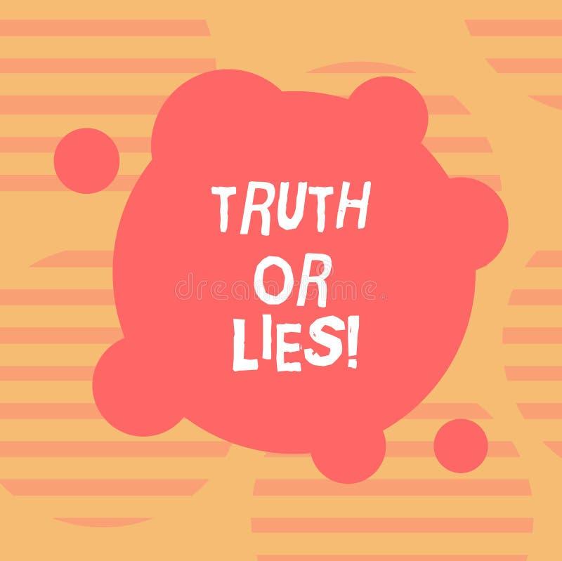 Word het schrijven tekstwaarheid of Leugens Het bedrijfsconcept voor Decide tussen een feit of het vertellen van een de verwarrin stock illustratie