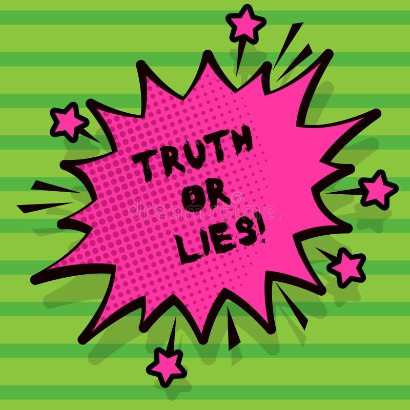 Word het schrijven tekstwaarheid of Leugens Bedrijfsconcept voor Decide tussen een feit of het vertellen van een verwarring van d royalty-vrije illustratie