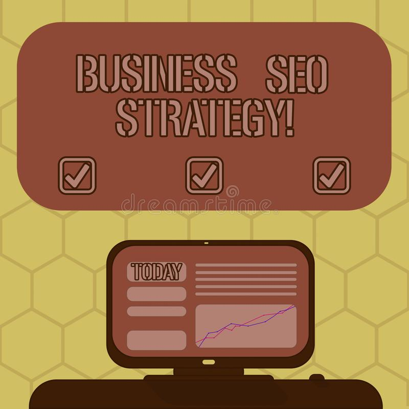 Word het schrijven tekstzaken Seo Strategy Bedrijfsconcept voor Optimalisering van website om toe te nemen het aantal bezoeken royalty-vrije illustratie