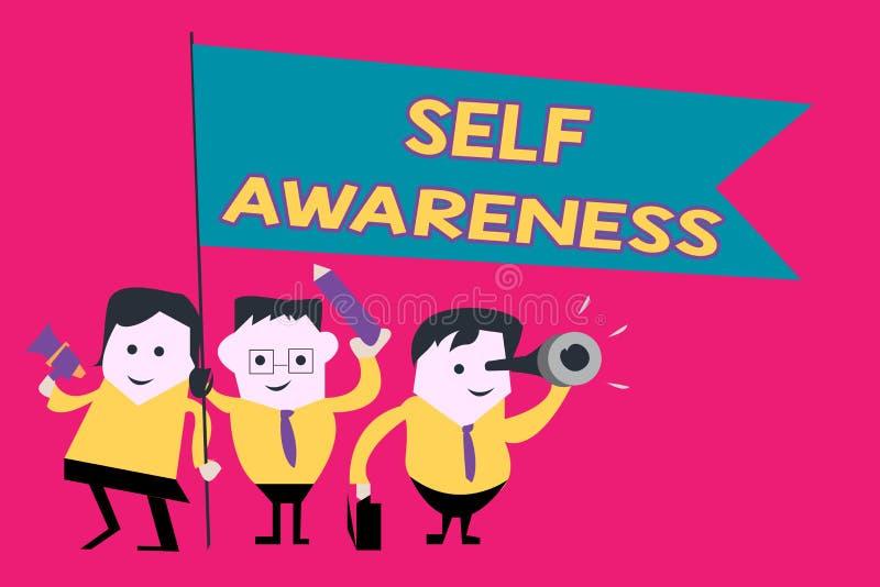 Word het schrijven tekstzelfbewustzijn Bedrijfsconcept voor Bewustzijn van een persoon naar een situatie of het gebeuren stock illustratie