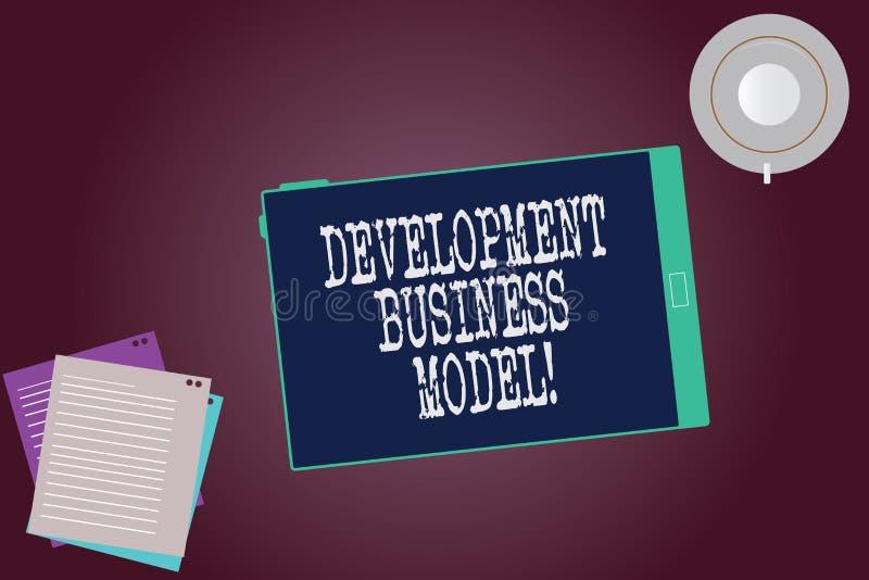 Word het schrijven van de bedrijfs tekstontwikkeling Model Bedrijfsconcept voor reden van hoe een organisatie Lege Tablet creeerd vector illustratie