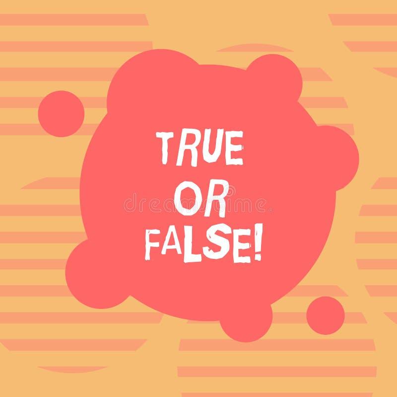 Word het schrijven Waar of Valse tekst Het bedrijfsconcept voor Decide tussen een feit of het vertellen van een de verwarringspat royalty-vrije illustratie