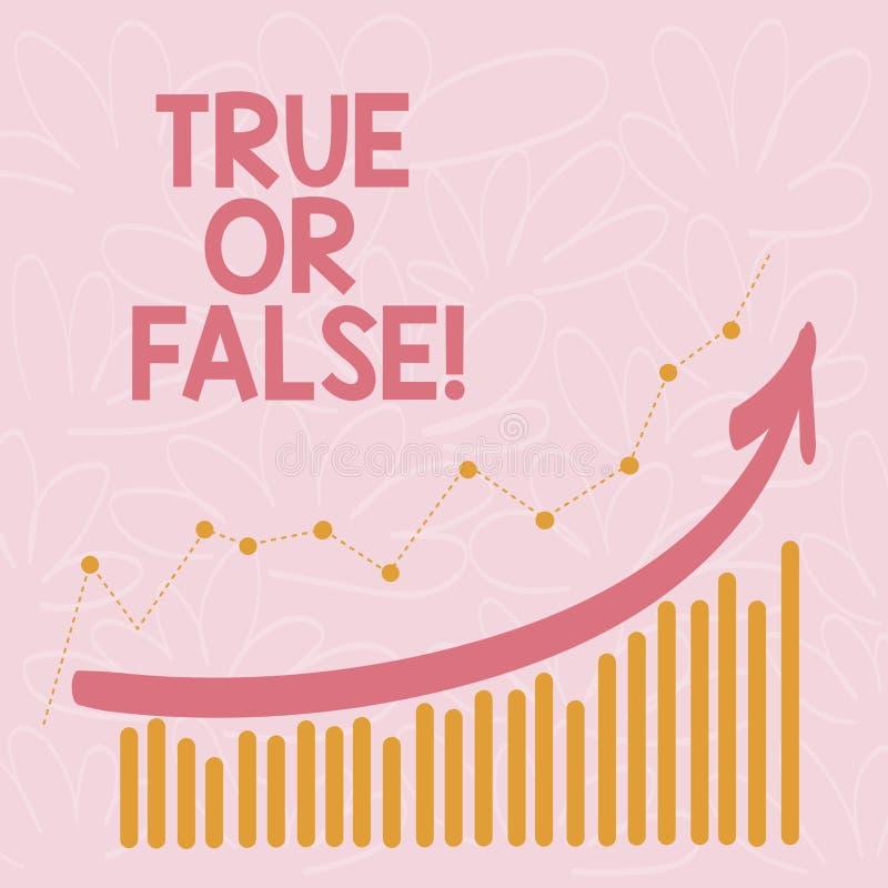 Word het schrijven Waar of Valse tekst Bedrijfsconcept voor Decide tussen een feit of het vertellen van een verwarring van de leu royalty-vrije illustratie