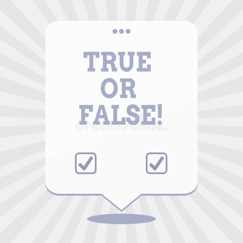 Word het schrijven Waar of Valse tekst Bedrijfsconcept voor Decide tussen een feit of het vertellen van een verwarring van de leu stock illustratie